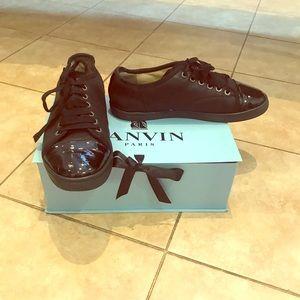 Lanvin Black Patent Cap Toe Low Top Sneakers